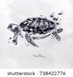Monotype Turtle Drawing With...