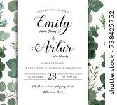 wedding floral hand drawn... | Shutterstock .eps vector #738425752