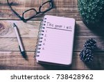 new year goals and resolution... | Shutterstock . vector #738428962