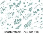 seamless pattern of eucalyptus... | Shutterstock .eps vector #738435748