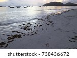 sunset at praslin island. early ... | Shutterstock . vector #738436672