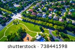 Modern green park Round Rock , Texas , USA Suburb growing outside of Austin high aerial drone view green architecture in new development of Homes vast Neighborhood Suburbia