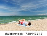 summer holidays and people... | Shutterstock . vector #738443146
