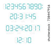 digital numbers  time and date. ... | Shutterstock .eps vector #738447916