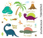 cute vector dinosaurs isolated... | Shutterstock .eps vector #738458965