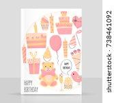 happy birthday card  greetings... | Shutterstock .eps vector #738461092
