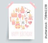 happy birthday card  greetings... | Shutterstock .eps vector #738461158