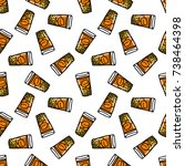 seamless doodle pattern. mote... | Shutterstock .eps vector #738464398