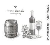 wine bottle  wood barrel  glass ...   Shutterstock .eps vector #738470332
