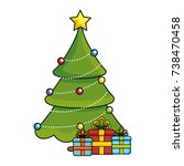 merry christmas pine tree with... | Shutterstock .eps vector #738470458