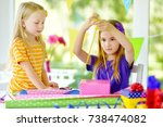 two cute sisters wrapping gifts ... | Shutterstock . vector #738474082