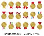 gold medal icon illustration set