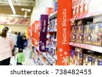 christmas shoppers in a... | Shutterstock . vector #738482455