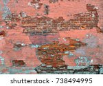 old brick wall distressed... | Shutterstock . vector #738494995