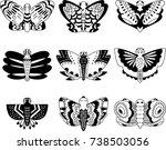 butterfly outline hand sketch... | Shutterstock .eps vector #738503056