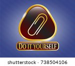 gold badge with paper clip... | Shutterstock .eps vector #738504106