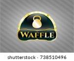 gold emblem with kettlebell... | Shutterstock .eps vector #738510496