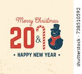 merry christmas and happy new... | Shutterstock .eps vector #738510592