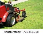 auto lawn mower. lawn care.... | Shutterstock . vector #738518218