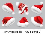 Santa Claus hat. Winter clothes. Christmas 3d realistic vector icon set | Shutterstock vector #738518452