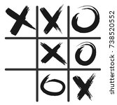 tic tac toe game icon  black... | Shutterstock .eps vector #738520552