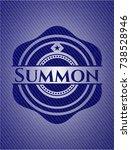 summon emblem with denim texture | Shutterstock .eps vector #738528946