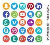 collection of popular social... | Shutterstock . vector #738530242
