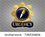 golden emblem with pen icon... | Shutterstock .eps vector #738536806