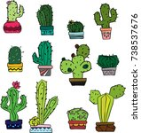 cactus hand sketch stylized... | Shutterstock .eps vector #738537676