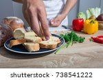 garlic bread homemade for... | Shutterstock . vector #738541222