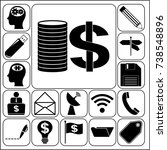 set of 17 business icons or...   Shutterstock .eps vector #738548896