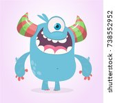 cute cartoon monster  with... | Shutterstock .eps vector #738552952