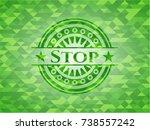 stop realistic green emblem.... | Shutterstock .eps vector #738557242