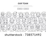 our team doodle background... | Shutterstock .eps vector #738571492