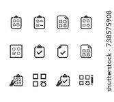 checklist icons | Shutterstock .eps vector #738575908