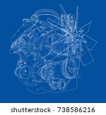 engine sketch. vector rendering ... | Shutterstock .eps vector #738586216