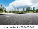 empty asphalt road and modern... | Shutterstock . vector #738605362