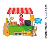 yard sale. household items sale.... | Shutterstock . vector #738616525