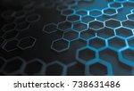blue abstract hexagonal... | Shutterstock . vector #738631486