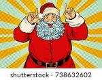 santa claus pointing finger up. ...   Shutterstock .eps vector #738632602