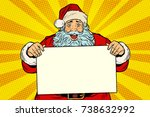 joyful santa claus with poster... | Shutterstock .eps vector #738632992