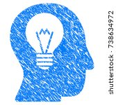 grunge intellect bulb icon with ... | Shutterstock . vector #738634972