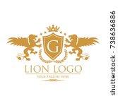 royal lion king   crest logo   Shutterstock .eps vector #738636886