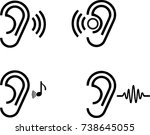 ear icon on transparent... | Shutterstock .eps vector #738645055