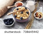 oat flakes with milk  honey ... | Shutterstock . vector #738645442