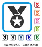 star medal icon. flat gray...