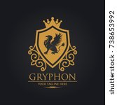 gryphon shield royal logo used... | Shutterstock .eps vector #738653992