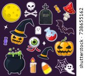 set of halloween stickers  for... | Shutterstock .eps vector #738655162