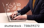 an elegant businessman sitting... | Shutterstock . vector #738659272