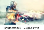 kart crossing the finish line... | Shutterstock . vector #738661945
